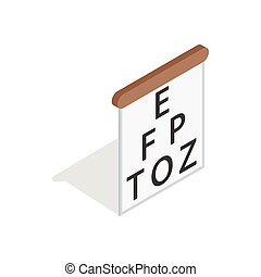 Table for eye tests icon, isometric 3d style - Table for eye...