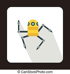 Robot spider icon, flat style - Robot spider icon in flat...