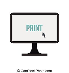 Print button on monitor icon, flat style - Print button on...