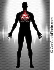 Pulmonary - Stock image of a man figure with lung symbol