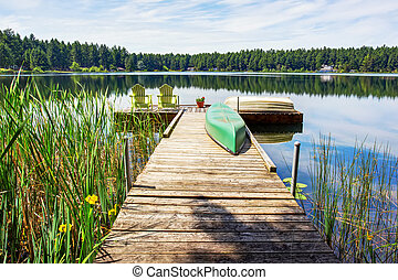 Waterfront lake with small pier. Perfect water view