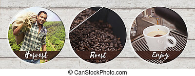 Coffee Process from harvesting to enjoying