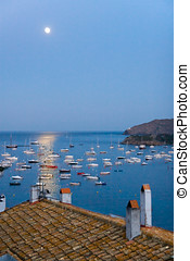 Moon rising in the Mediterranean sea over Cadaques