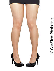 Comical standing woman\'s legs on white background