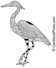Heron coloring vector for adults - Heron coloring book for...