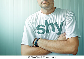 Shy guy posing - Adult man wearing shirt with Shy title