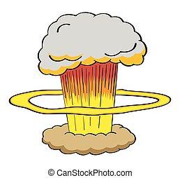 Atomic bomb explosion in cartoon style illustration