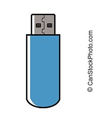 Blue USB memory stick - Graphic illustration of a blue USB...