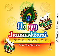 abstract happy janamashtami flute background vector...
