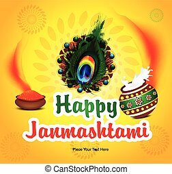 happy janmashtami background with pot feather