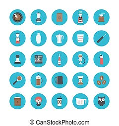 coffee icon set - set of coffee equipment icon,isolated on...