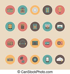 retro music gadget - set of retro music gadget icon, retro...