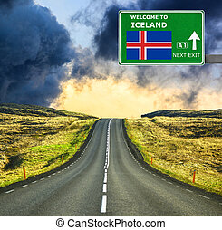 Iceland road sign against clear blue sky