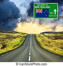 New Zealand road sign against clear blue sky