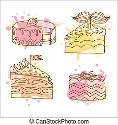 Vector cake illustration. Set of 4 hand drawn cakes with colorful splashes. Cakes with cream and berries.