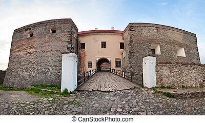 Spring Zolochiv castle bridge gate view (Ukraine) - View of...