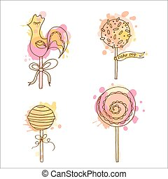 Vector candy illustration. Set of 4 hand drawn lollipops...