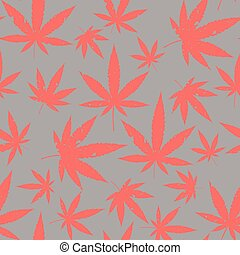 Cannabis seamless grey pattern.