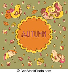 Vector autumn theme greeting card with space for your text.