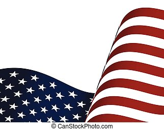 Waving USA flag isolated on white background