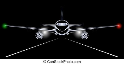 Bright silhouette of a jet airliner coming in to land in the night black sky. The headlights and marker lights.