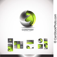 Abstract green metal sphere 3d logo