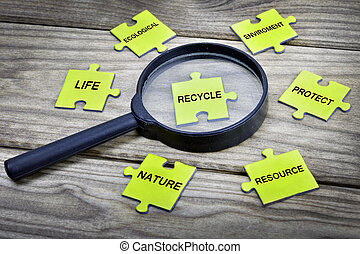 Puzzle with word Recycle - Puzzle pieces with word Recycle