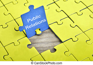 Puzzle with word Public Relations - Puzzle pieces with word...