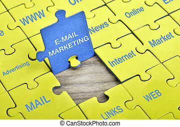 Puzzle with word E-mail marketing