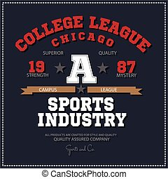 Sport athletic champions college league Chicago logo emblem...