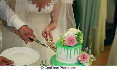 A bride and a groom is cutting their wedding cake 21