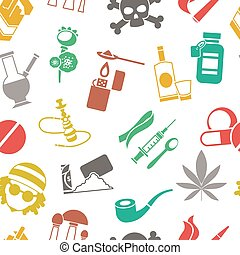 Flat Drugs Pattern - Flat seamless background drugs pattern...