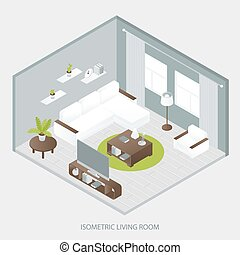 Isometric Sitting Room - Isometric sitting room with white...