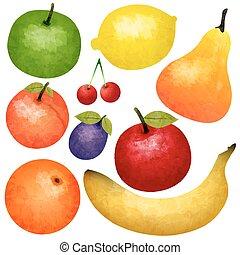 Watercolor Ripe Fruit Set