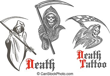 Death tattoo design with sketched grim reapers - Horrifying...