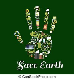 Hand symbol with ecological energy flat icons - Eco hand...