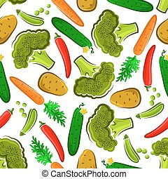 Seamless healthy fresh vegetables pattern - Seamless organic...