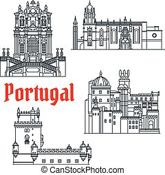 Historical travel sights of Portugal linear icon - Portugese...