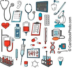 Medical equipment vector icons set