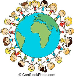 Children world friendship cartoon poster