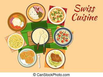 Swiss cuisine traditional dishes flat icon - Swiss cuisine...
