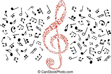 Music notes icons. Red treble clef