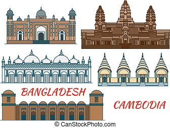 Temples, mosques of Cambodia and Bangladesh icon - Angkor...