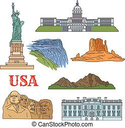 Culture, history, nature travel sights of USA icon - USA...