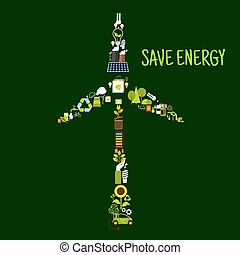 Wind turbine symbol with saving energy flat icons - Save...