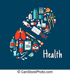Medicines, healthcare flat icons in shape of pill - Pill...