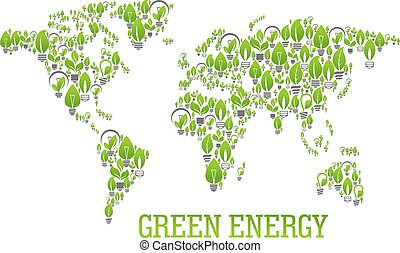 Green world map symbol with light bulbs