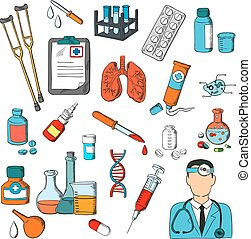 Medical tools and treatment icons