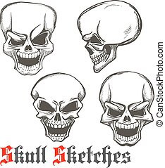 Laughing skulls sketches for tattoo design