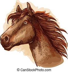 Brown racehorse for horse racing design - Brown mare horse...